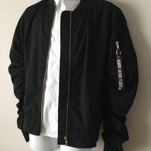 Black satin bomber aviator jacket orange lining